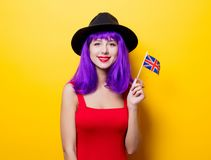 Girl with Great Britain flag in hand Royalty Free Stock Photo