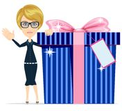 Girl with a great gift, vector illustration Royalty Free Stock Photo