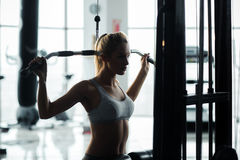 Girl with great shapes in the gym Royalty Free Stock Images