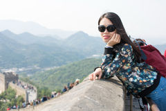 Girl at the Great wall of China Royalty Free Stock Photography