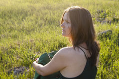 Girl in Green Stock Photo