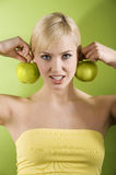 The girl with green apple Royalty Free Stock Photo