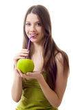 Girl green apple drink cocktail puff Stock Photos