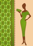 Girl on green background. royalty free illustration