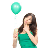 Girl with green balloon Royalty Free Stock Images
