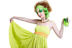 Girl with green beer Stock Photos