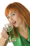 Girl with green beer Stock Photo