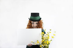 Girl in green with blank sign Stock Image