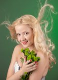 Girl with green chrysanthemum Stock Photo