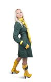 Girl  in green coat over white Royalty Free Stock Photo