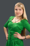 The girl in a green dress. Stock Images