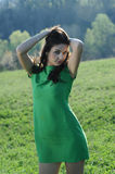 The girl with the green dress Stock Photo