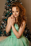 Girl in green dress with Christmas tree Stock Image