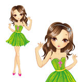 Girl In Green Dress Dancing. Vector illustration of beautiful brunette girl in green dress Stock Photos