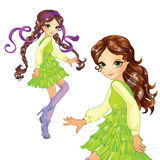 Girl In Green Dress Dancing Stock Photo