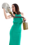 Girl in a green dress Royalty Free Stock Images
