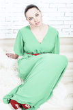 Girl in a green dress Royalty Free Stock Photography