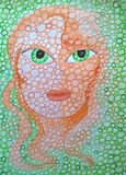Girl with green eyes and circles. Original painting. Girl green eyes circles original painting orange royalty free stock photography