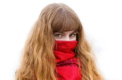 Girl with green eyes in the red scarf on the white Royalty Free Stock Photos