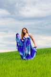 Girl on green grass Royalty Free Stock Photography