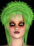 Girl with green hair Royalty Free Stock Image