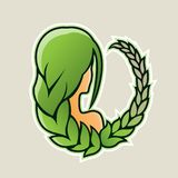 Girl with Green Hair and Wheat Icon Vector Illustration. Vector Illustration of Girl with Green Hair and Wheat Icon isolated on a White Background vector illustration