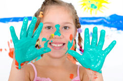 Girl with green hands Royalty Free Stock Images