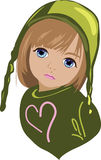Girl with green hat Stock Image
