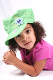 Girl in Green Hat Royalty Free Stock Photography