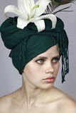 Girl in a green head scarf Royalty Free Stock Photos