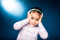 Girl with green headband with bow Stock Images