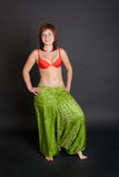 Girl in a green Indian trousers Stock Images