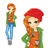Girl In Green Jacket And Red Hat Stock Photo
