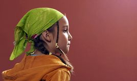 Girl with a green kerchief. On red background Royalty Free Stock Photo