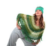 Girl in a green knit poncho Royalty Free Stock Photography