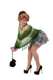 Girl in a green knit poncho Stock Photos