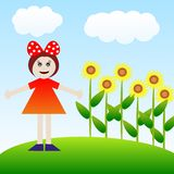Girl on a green lawn with brightly yellow sunflowers. Illustration a raster Stock Photography