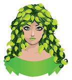 Girl with green leaves Royalty Free Stock Image