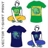 Girl in green leaves. Natural life - Vector print for girl t-shirt in custom colors Stock Image