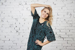 Girl in green party dress Royalty Free Stock Photos