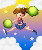 A girl with green pompoms. Illustration of a girl with green pompoms Royalty Free Stock Image