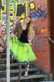 The girl in a green skirt Royalty Free Stock Image