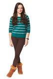 Girl in green striped sweater Stock Photos
