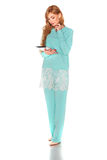 Girl in green suit with tablet computer Stock Photo