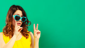 Girl in green sunglasses portrait Royalty Free Stock Photo
