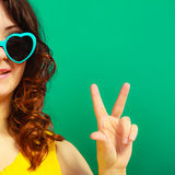 Girl in green sunglasses portrait Stock Photo
