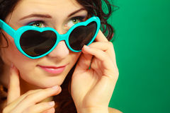 Girl in green sunglasses portrait Royalty Free Stock Images