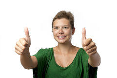 Girl in green with thumb up Royalty Free Stock Photo