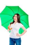 Girl with a green umbrella Royalty Free Stock Photos