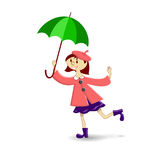 A girl. With green umbrella on a white background Stock Photography